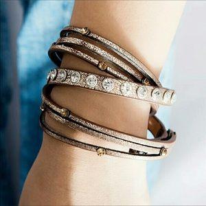 Bracelet Leather Wrap Crystal Studded Bracelet